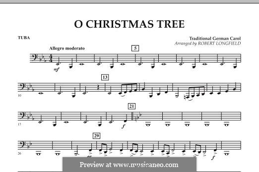 O Christmas Tree, for Orchestra: Tubastimme by folklore