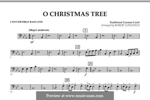O Christmas Tree, for Orchestra: Convertible Bass Line part by folklore