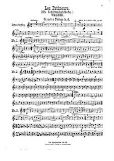 Die Schlittschuhlaüfer, Op.183: Für Violine, Cello, Flöte, Kornett und Klavier – Kornettstimme by Emil Waldteufel