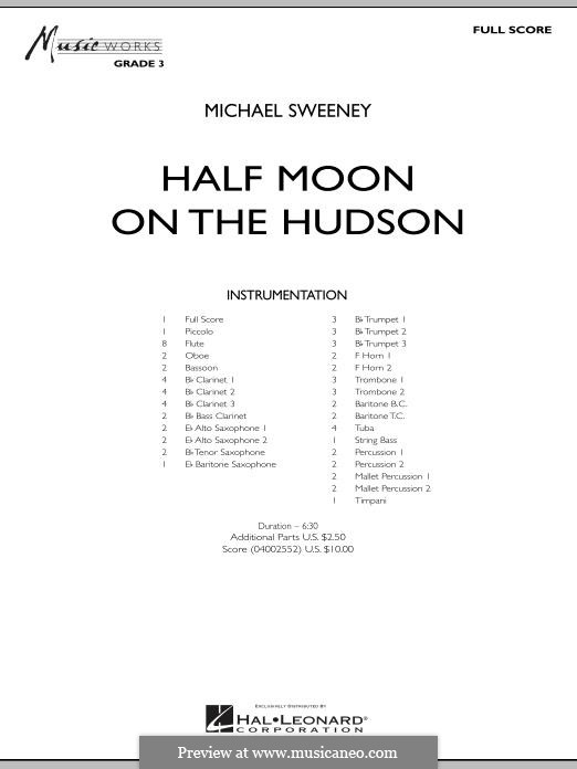 Half Moon on the Hudson: Vollpartitur by Michael Sweeney