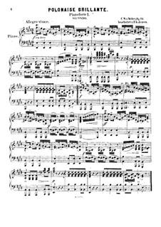 Polonaise brillante, J.268 Op.72: Für zwei Klaviere, achthändig – Stimmen für Klavier I by Carl Maria von Weber