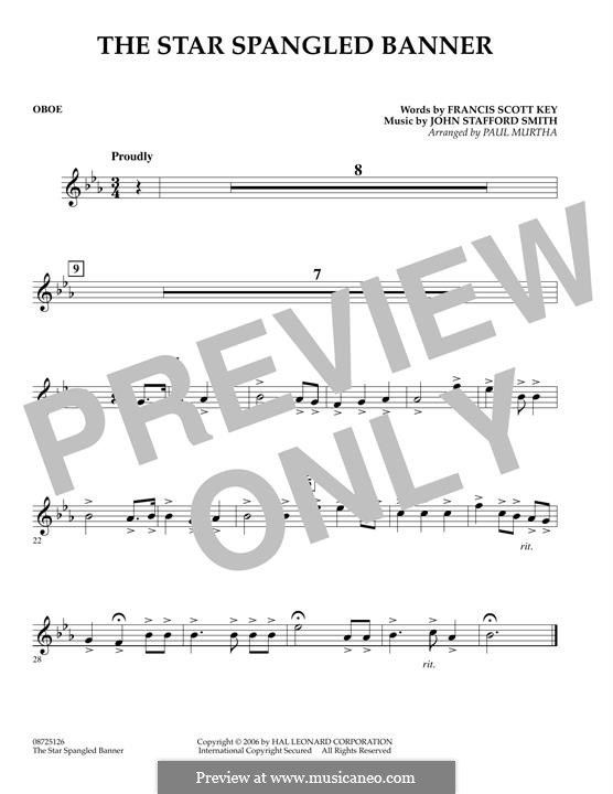 The Star Spangled Banner (National Anthem of The United States). Printable Scores: Oboenstimme by John Stafford Smith