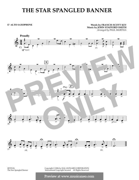 The Star Spangled Banner (National Anthem of The United States). Printable Scores: Eb Alto Saxophone part by John Stafford Smith