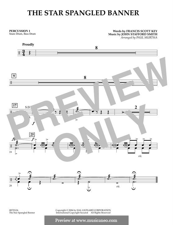 The Star Spangled Banner (National Anthem of The United States). Printable Scores: Percussion 1 part by John Stafford Smith