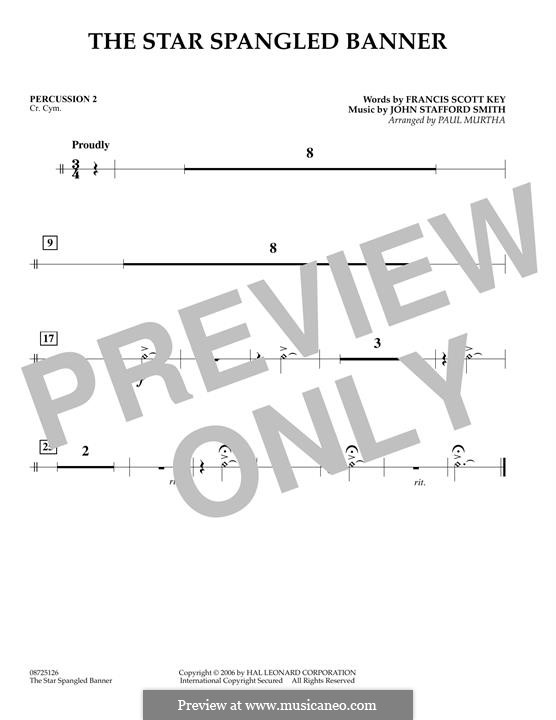 The Star Spangled Banner (National Anthem of The United States). Printable Scores: Percussion 2 part by John Stafford Smith