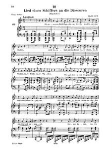Lied eines Schiffers an die Dioskuren, D.360 Op.65 No.1: Für tiefe Stimme und Klavier by Franz Schubert