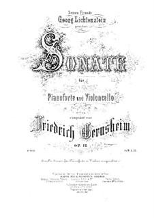 Sonate für Cello und Klavier in d-Moll, Op.12: Partitur by Friedrich Gernsheim