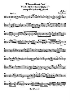Nr.39 Arie 'Erbarme Dich, mein Gott': For viola and keyboard by Johann Sebastian Bach