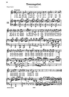 Trennungslied, K.519: For medium or low voice and piano by Wolfgang Amadeus Mozart