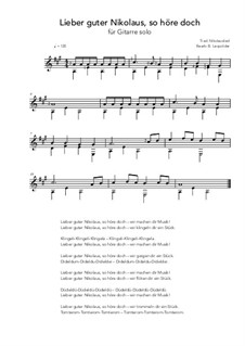 Lieber guter Nikolaus, so höre doch: For guitar solo (A Major) by folklore
