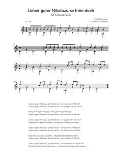 Lieber guter Nikolaus, so höre doch: For guitar solo (C Major) by folklore