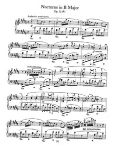 Nocturnen, Op.32: No.1 in B Major by Frédéric Chopin