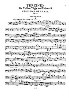 Terzinen für Violine, Bratsche und Cello, Op.25: Cellostimme by Friedrich Hermann