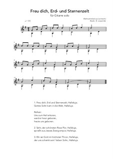 Freu' dich Erd' und Sternenzelt: For guitar solo (G Major) by folklore