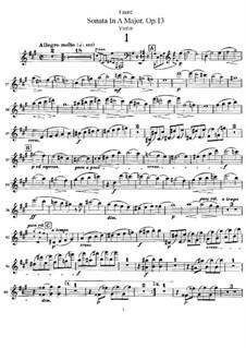 Sonate für Violine und Klavier in A-Dur, Op.13 No.1: Solostimme by Gabriel Fauré