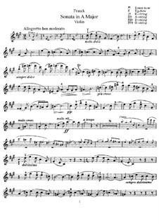 Sonate für Violine und Klavier in A-Dur, M.8 FWV 8: Violinstimme by César Franck