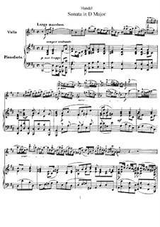 Sonate für Violine und Cembalo in D-Dur, HWV 371 Op.1 No.13: Version für Violine und Klavier by Georg Friedrich Händel