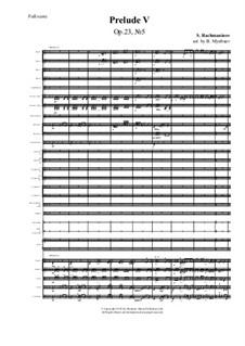 Zehn Präludien, Op.23: Prelude No.5, for symphonic orchestra by Sergei Rachmaninoff