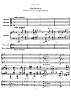 Malediktion, S.121: For piano solo and string instruments by Franz Liszt