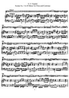 Sonate für Flöte und Cembalo Nr.3 in h-Moll, HWV 376: Partitur by Georg Friedrich Händel