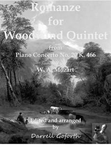 Konzert für Klavier und Orchester Nr.20 in d-Moll, K.466: Romanze, for woodwind quintet by Wolfgang Amadeus Mozart