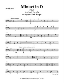 Minuet in D No.1: For string orchestra – double bass part by Joseph Haydn