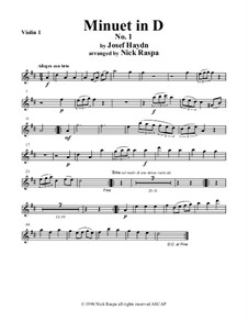 Minuet in D No.1: For string orchestra — violin 1 part by Joseph Haydn
