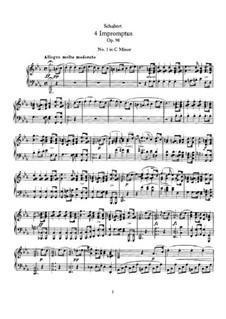 Vier Impromptus für Klavier, D.899 Op.90: Vollsammlung by Franz Schubert