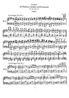 Zwölf Walzer, Siebzehn Ländler und Neun Ecossaise, D.145 Op.18: Vollsammlung by Franz Schubert