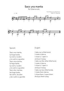 Saco una manita: For guitar solo (G Major) by folklore