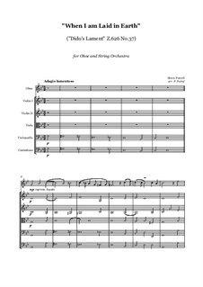 Dido's Lament: For oboe and string orchestra, score and parts by Henry Purcell
