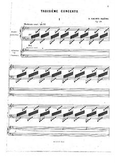 Konzert für Klavier und Orchester Nr.3 in Es-Dur, Op.29: Version für zwei Klaviere, vierhändig by Camille Saint-Saëns