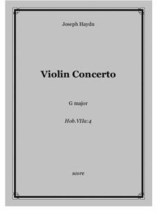 Konzert für Violine und Orchester Nr.4 in G-Dur, Hob.VIIa/4: Score and parts by Joseph Haydn