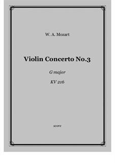Konzert für Violine und Orchester Nr.3 in G-Dur, K.216: Score and parts by Wolfgang Amadeus Mozart