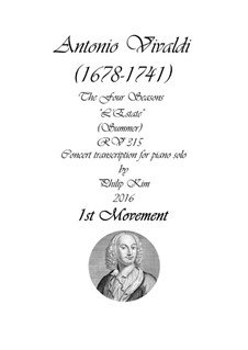 Violinkonzert Nr.2 in g-Moll 'Sommer', RV 315: Movement I, for piano by Antonio Vivaldi