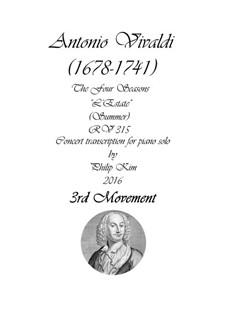 Violinkonzert Nr.2 in g-Moll 'Sommer', RV 315: Movement III, for piano by Antonio Vivaldi