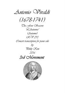 Violinkonzert Nr.3 in F-Dur 'Herbst', RV 293: Teil III. Version für Klavier by Antonio Vivaldi