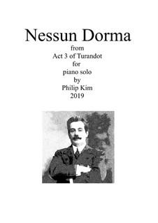 Turandot: Nessun dorma, for piano solo by Giacomo Puccini