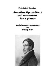 Drei Sonatinen für Klavier, Op.20: Sonatine No.1, Movement II for two pianos by Friedrich Kuhlau