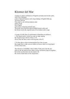 Klezmer del Mar for flute, viola and guitar: Klezmer del Mar for flute, viola and guitar by folklore, David W Solomons