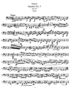 Streichquartett Nr.3 in B-Dur, Op.67: Cellostimme by Johannes Brahms