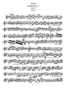 Streichquartett Nr.3 in B-Dur, Op.67: Violinstimme II by Johannes Brahms