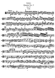 Streichquartett Nr.3 in B-Dur, Op.67: Violastimme by Johannes Brahms