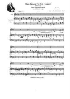 Sonate für Violine und Cembalo Nr.5 in f-Moll, BWV 1018: Arrangement for flute and harpsichord (or piano) by Johann Sebastian Bach