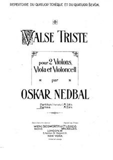 Valse triste for String Quartet: Violinstimme I by Oskar Nedbal