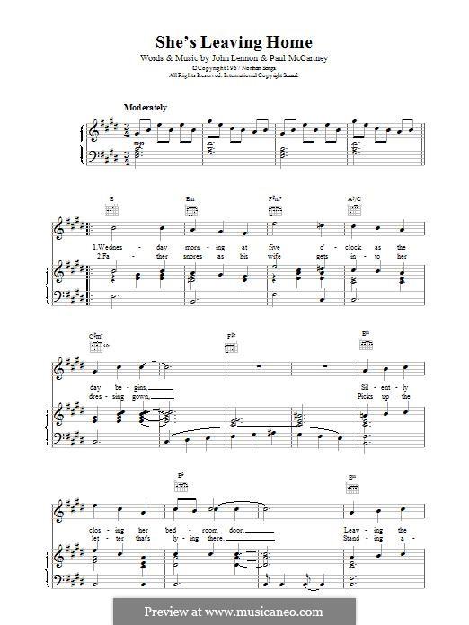 She's Leaving Home (The Beatles): Für Stimme und Klavier (oder Gitarre) by John Lennon, Paul McCartney