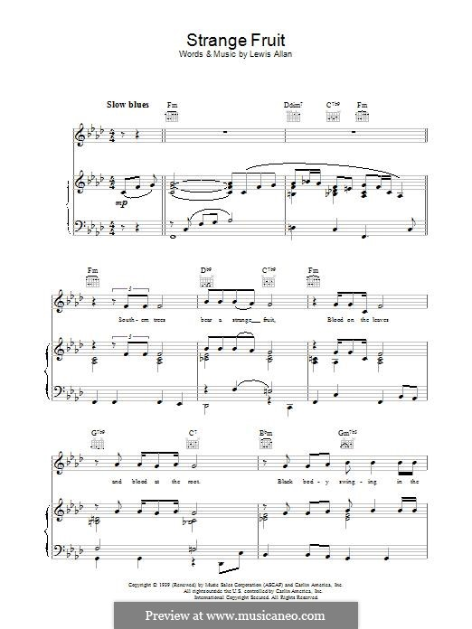 Strange Fruit: Für Stimme mit Klavier oder Gitarre (Billie Holiday) by Lewis Allan