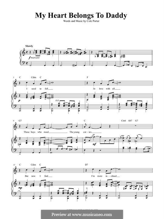 My Heart Belongs to Daddy: Für Stimme und Klavier (oder Gitarre) by Cole Porter