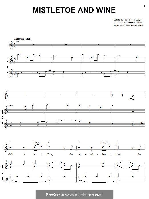 Mistletoe and Wine (Cliff Richard): Für Stimme und Klavier (oder Gitarre) by Keith Strachan
