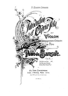 Introduction and Caprice Jota, Op.41: Vollpartitur by Pablo de Sarasate